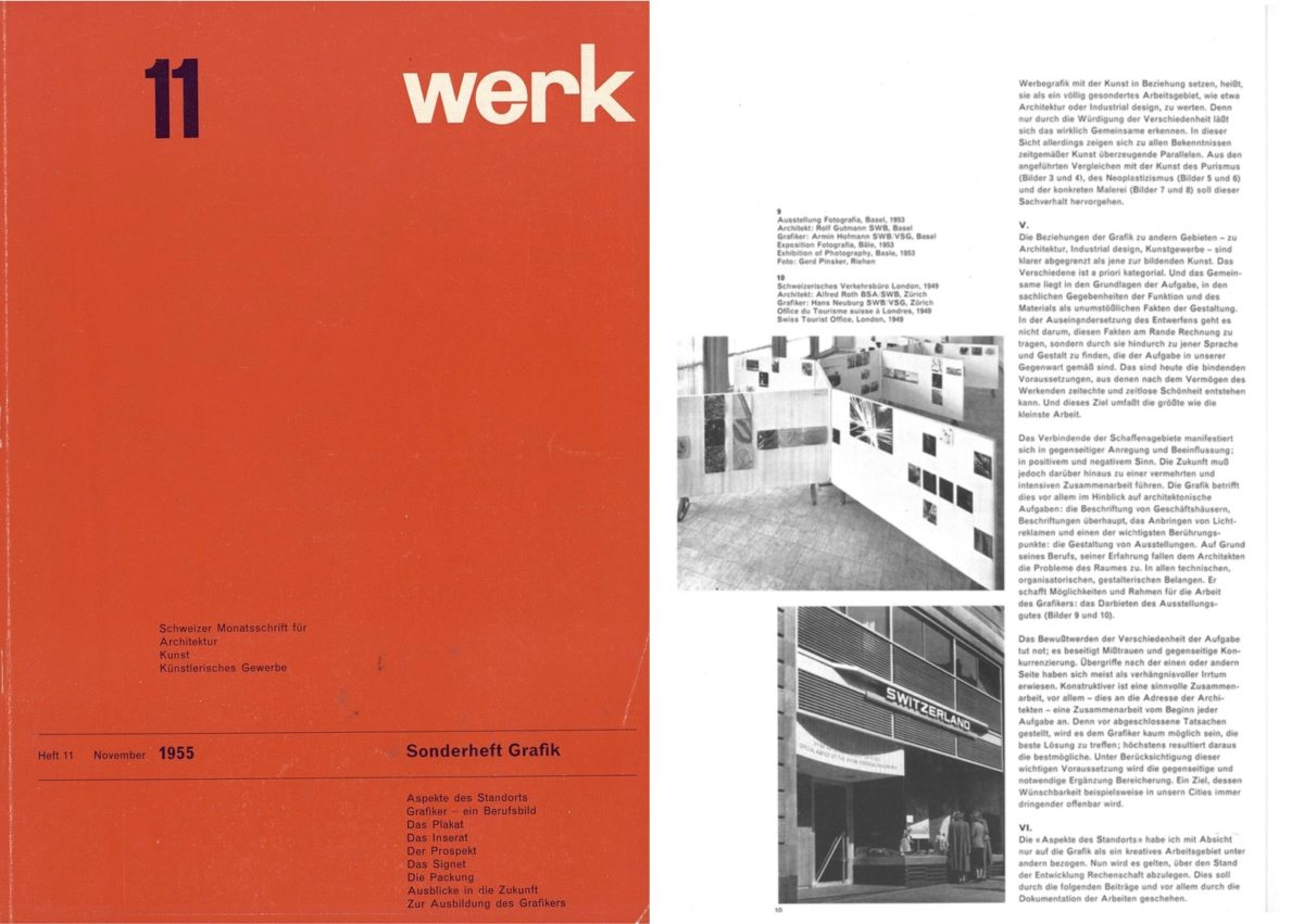 Gerstner, special graphic design issue of Werk, 1955